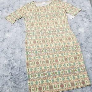 Lularoe Julia Shift Dress L Pastel Print NWT